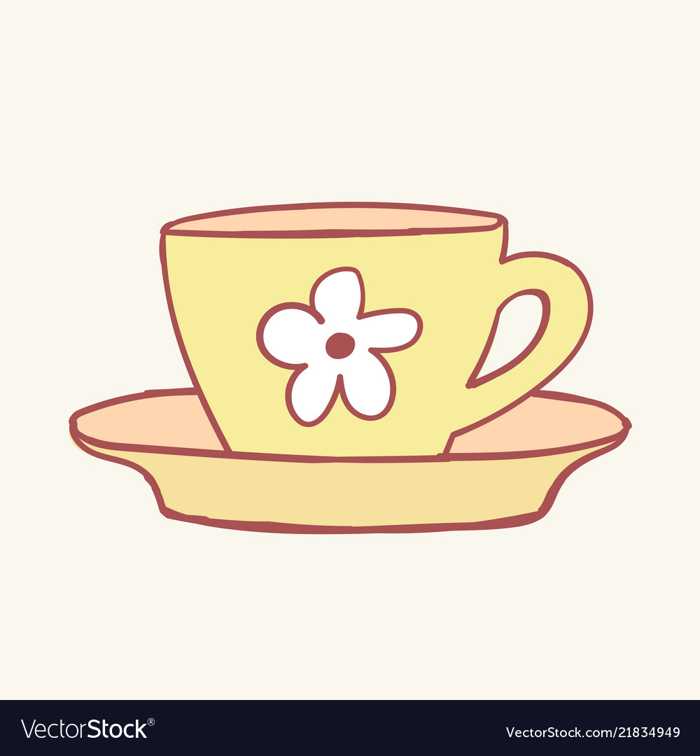 Cups mug flower hand drawn style doodle