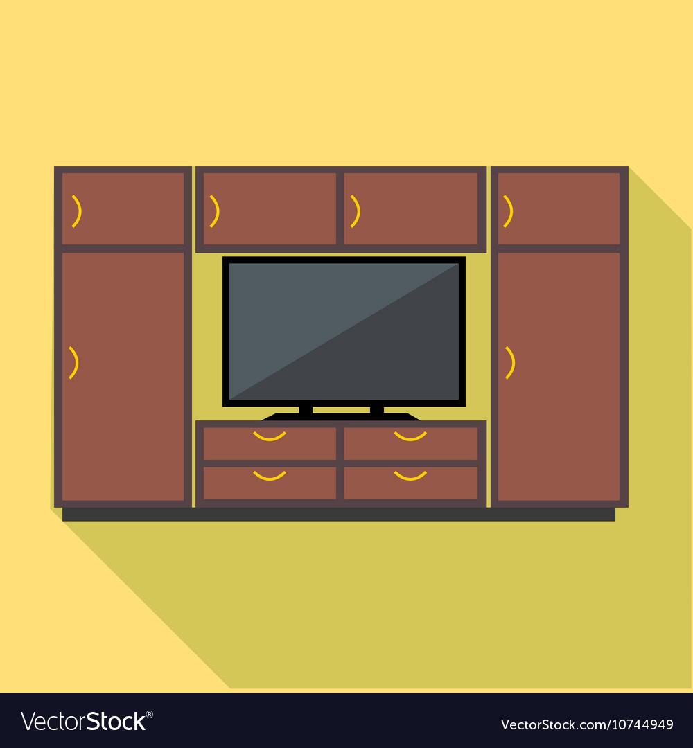 Digital brown cabinet furniture and tv set
