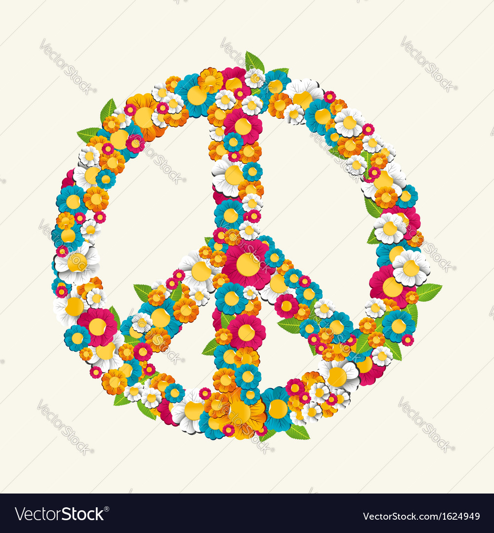 Isolated peace symbol made with flowers