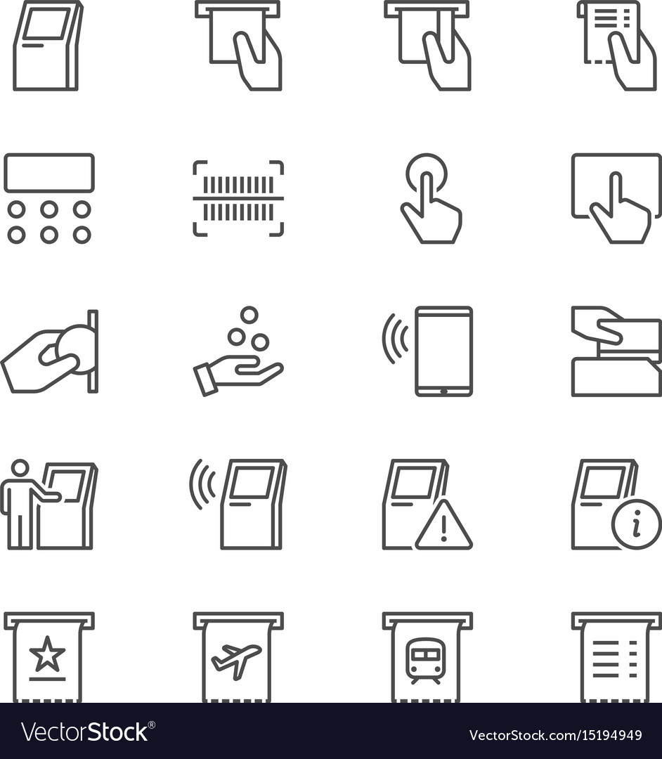 Kiosk thin icons vector image