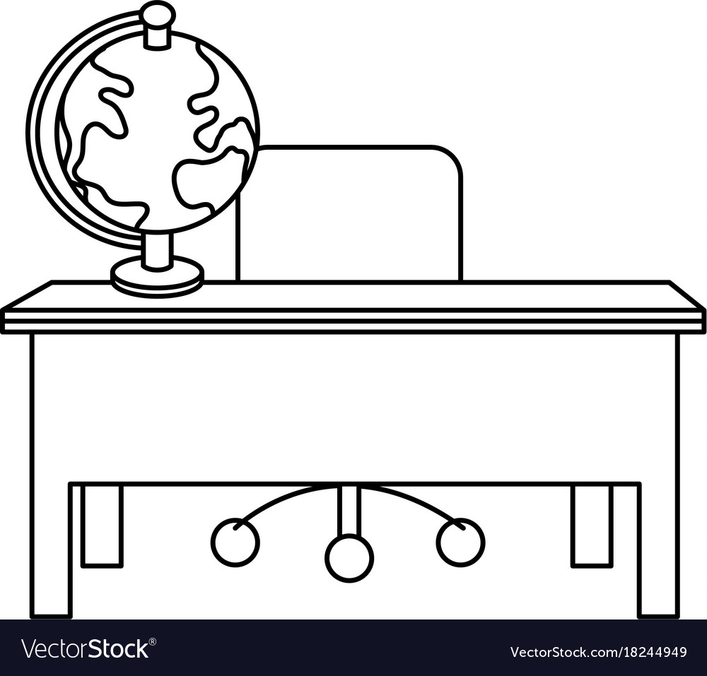 Line Wood Desk With Chair And Notebooks Tools Vector Image