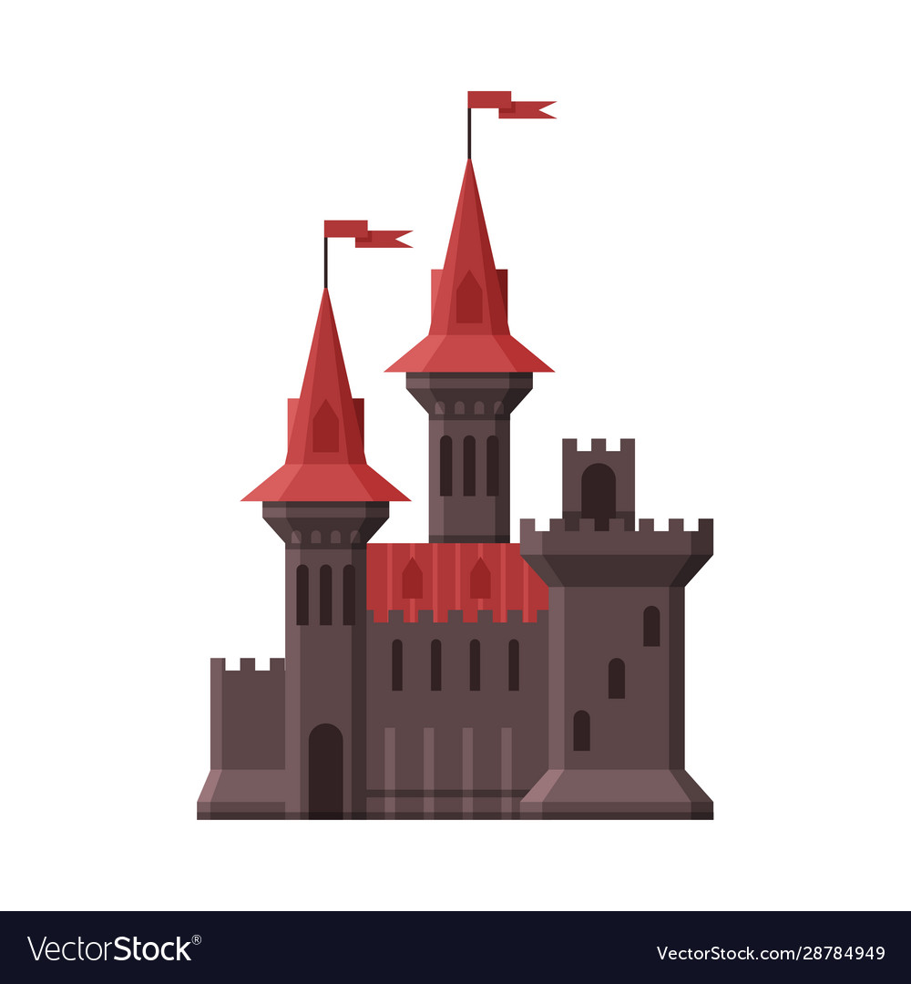 Medieval castle stone fortress with red flags