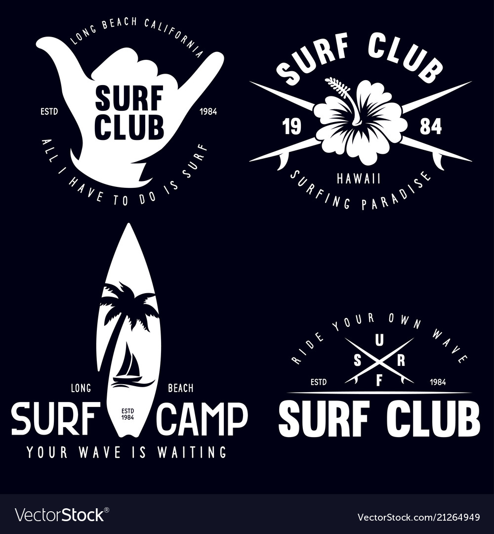Set of vintage surfing graphics and emblems for