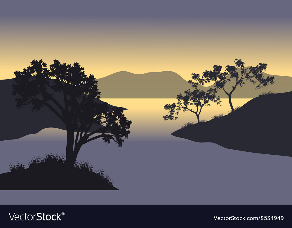 Silhouette of hills and tree at the morning