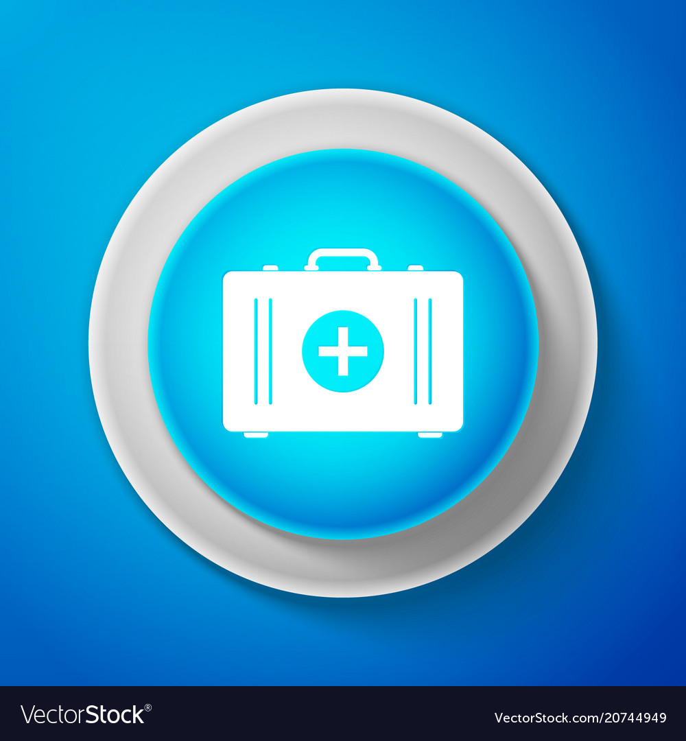 White first aid kit icon medical box with cross