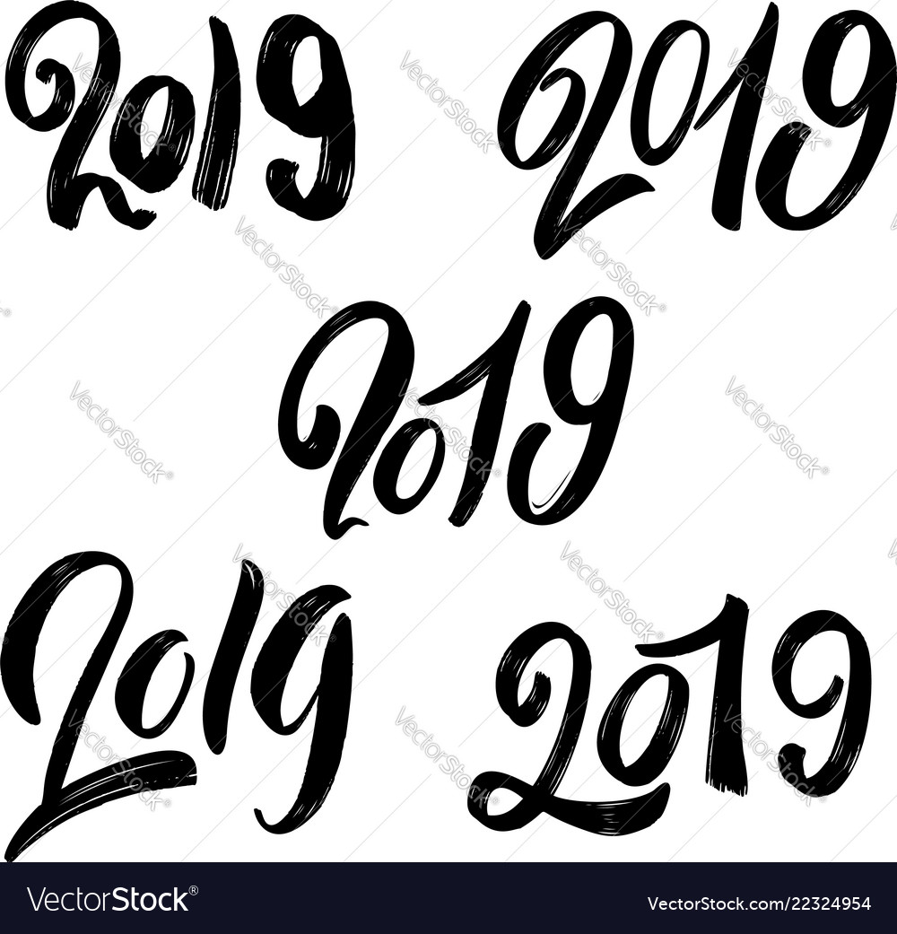 2019 new year set of hand lettering phrases on