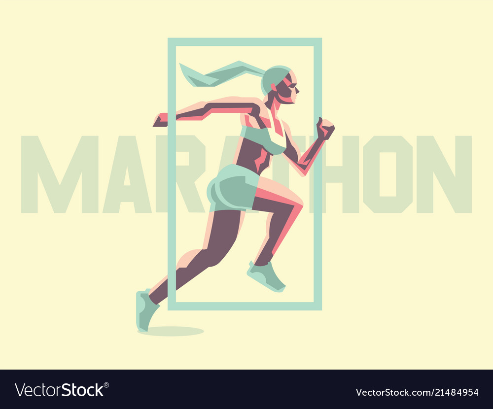 A female athlete is running