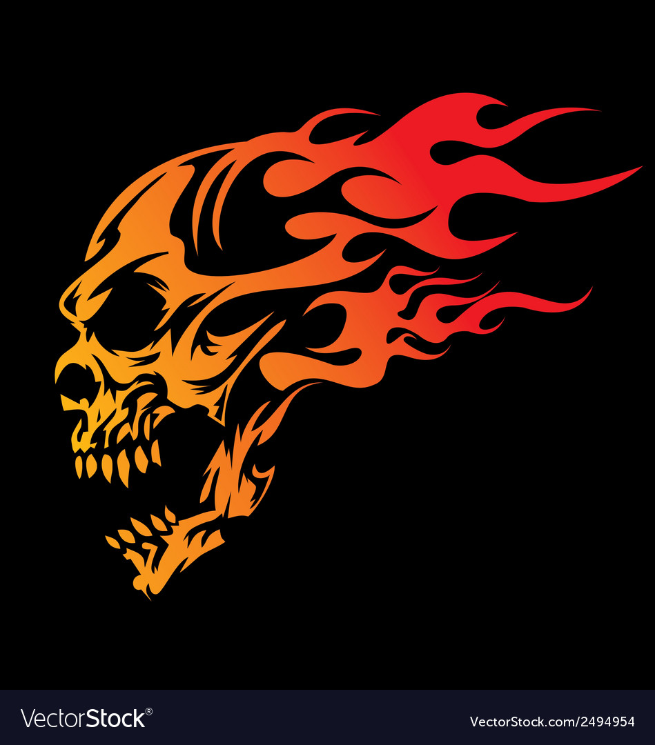 Burning Skulls Royalty Free Vector Image - VectorStock
