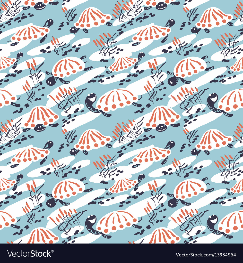 Cartoon turtles in the reeds seamless pattern