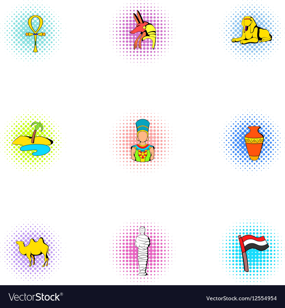 Egypt republic icons set pop-art style vector image