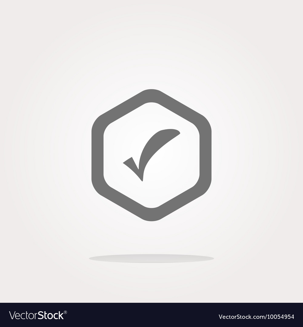Glossy Web Button With Check Mark Sign Icon Vector Image