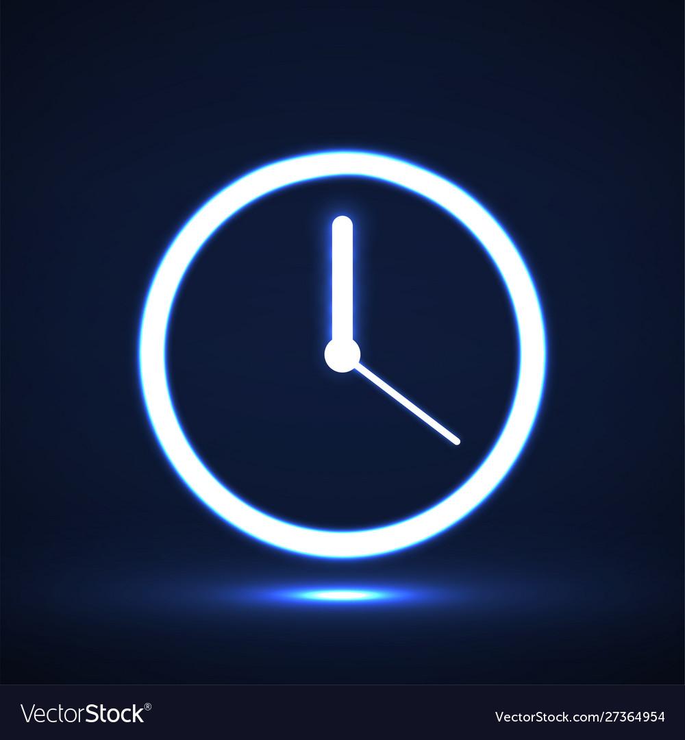 Glowing neon clock with arrow icon symbol