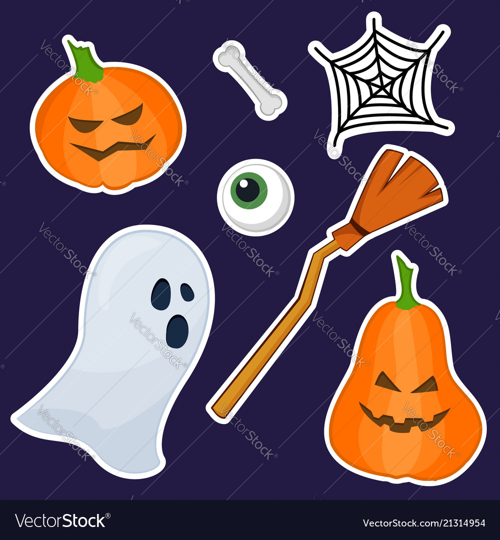 Halloween stickers made of hand painting
