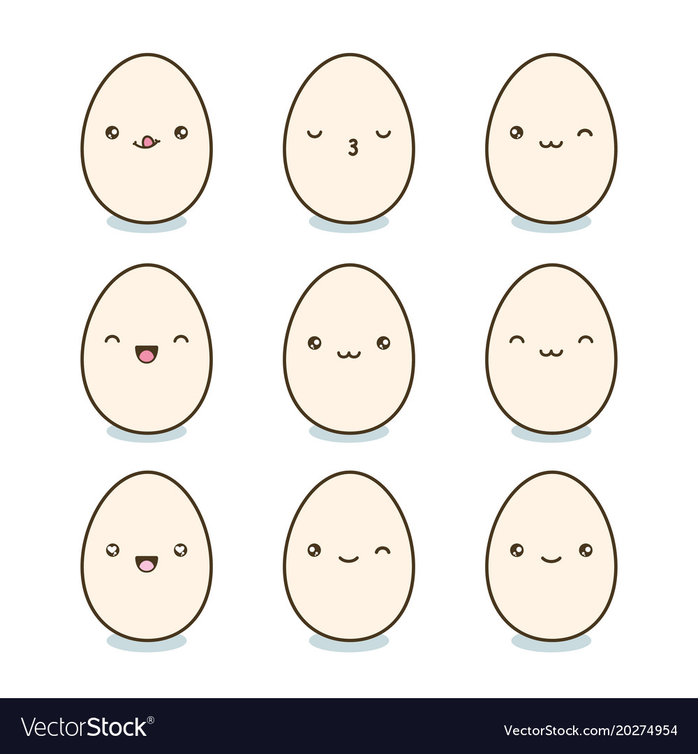 Happy easter eggs set kawaii eggs with cute faces