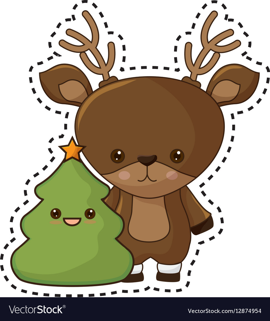 Deer kawaii. Happy merry christmas reindeer
