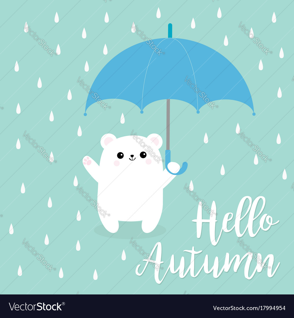 Hello autumn polar white small little bear cub