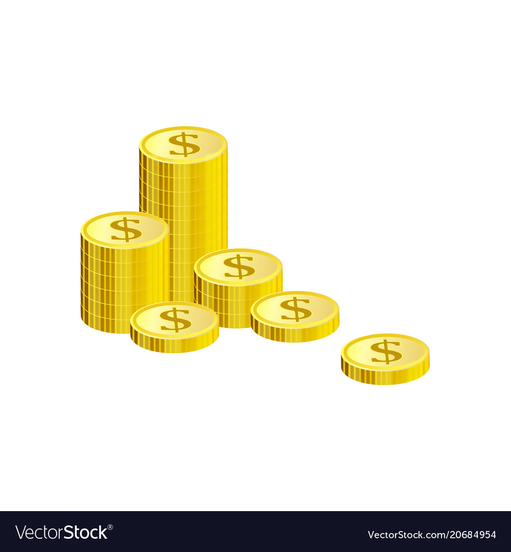 Isometric gold coins of dollars in pile isolated