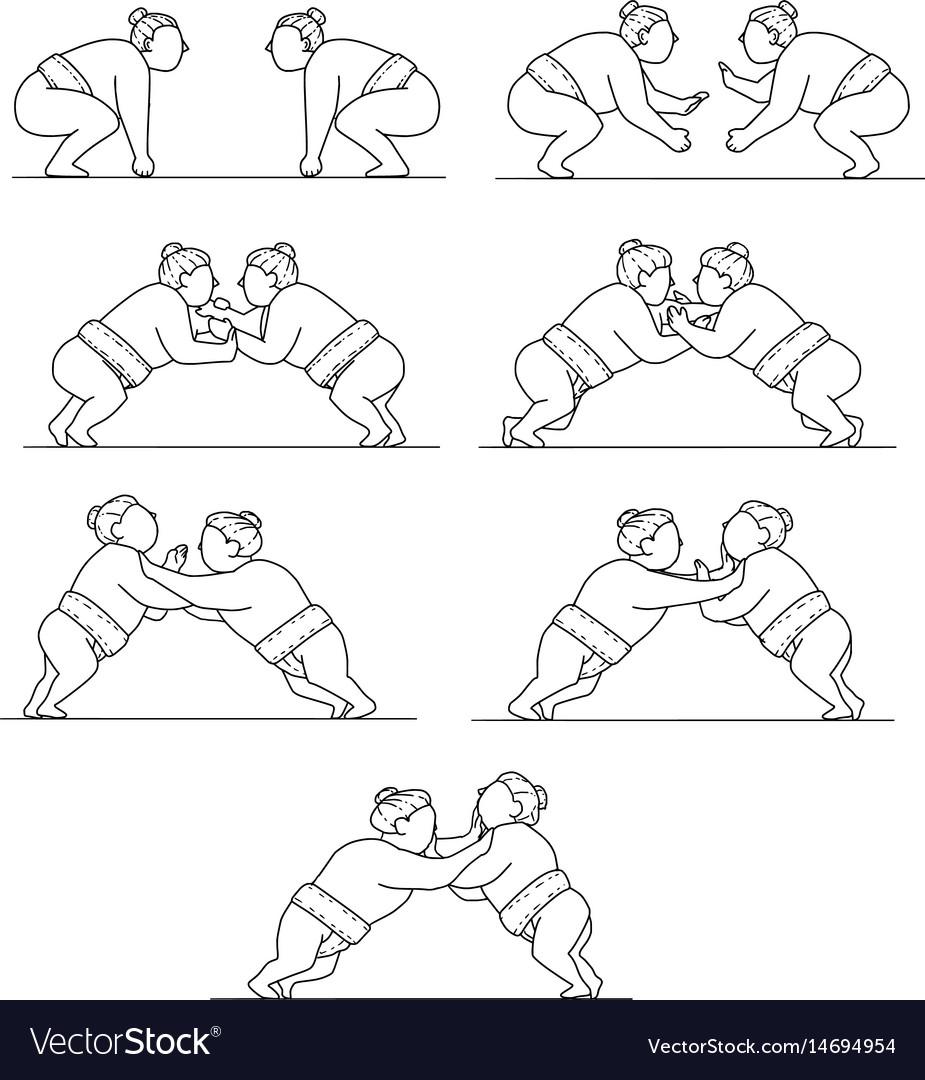 Rikishi sumo wrestlers wrestling mono line