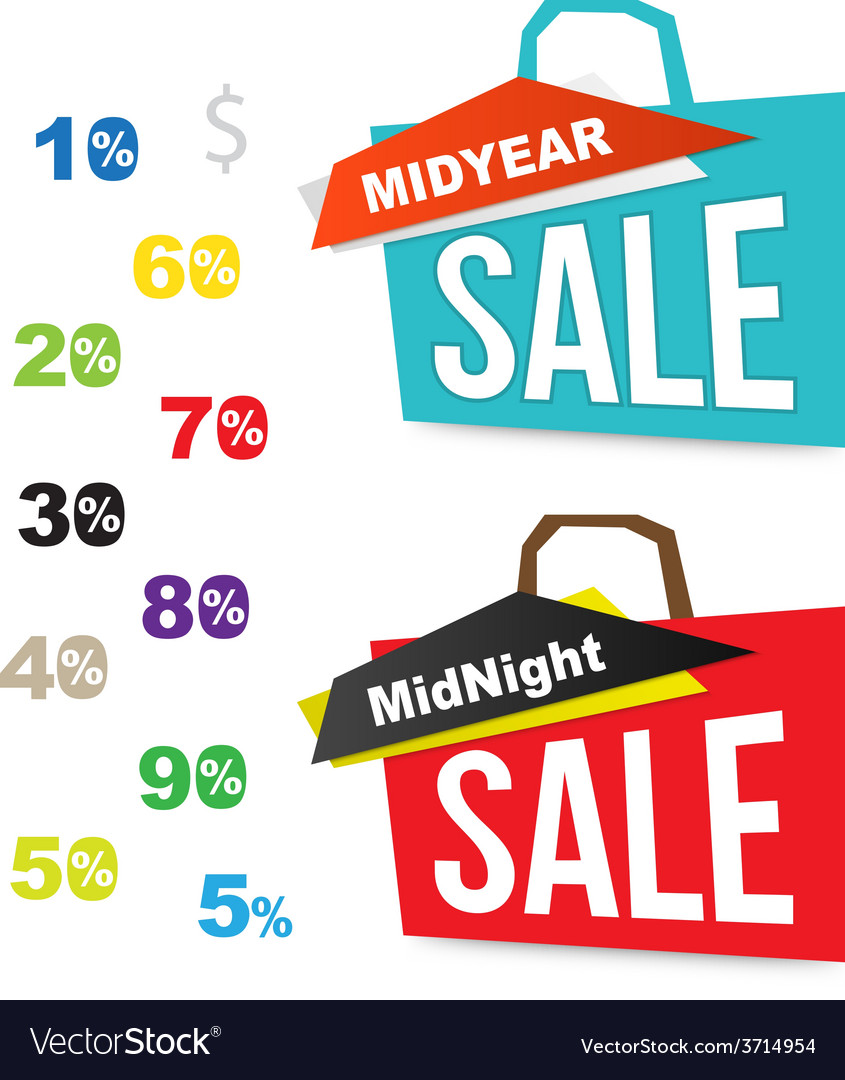Sale bag icons with number percent for midnight