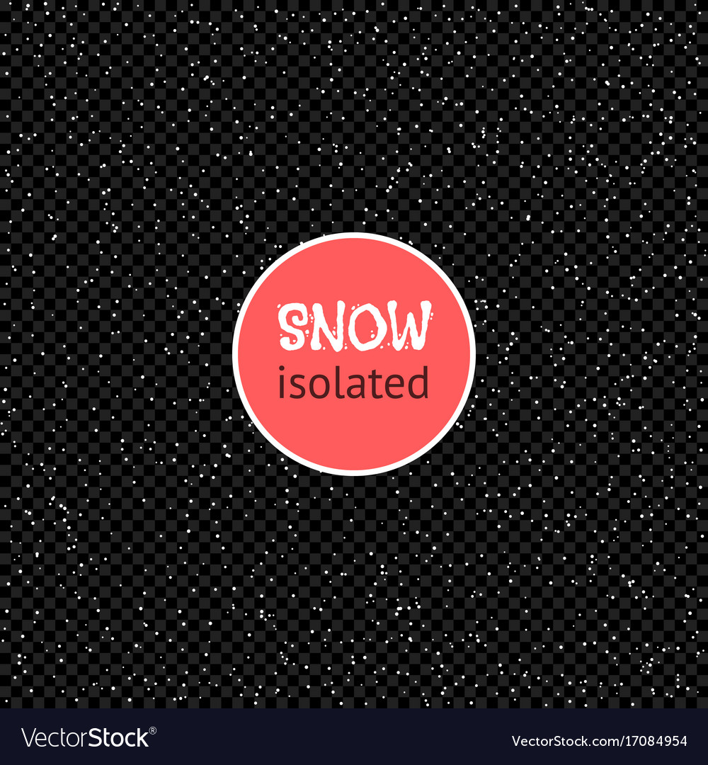 Snow isolated on a transparent dark background vector image