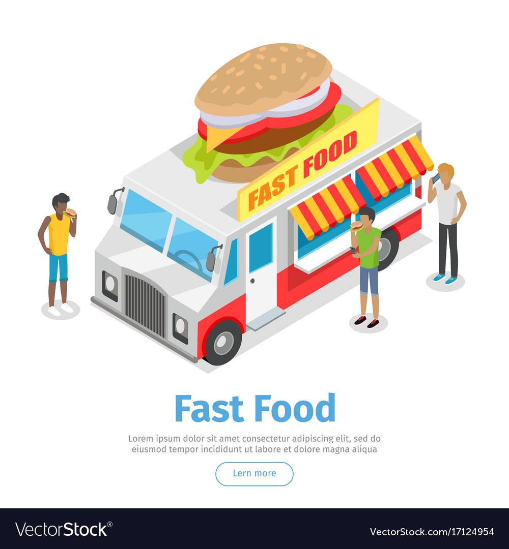 Street fast food isometric web banner