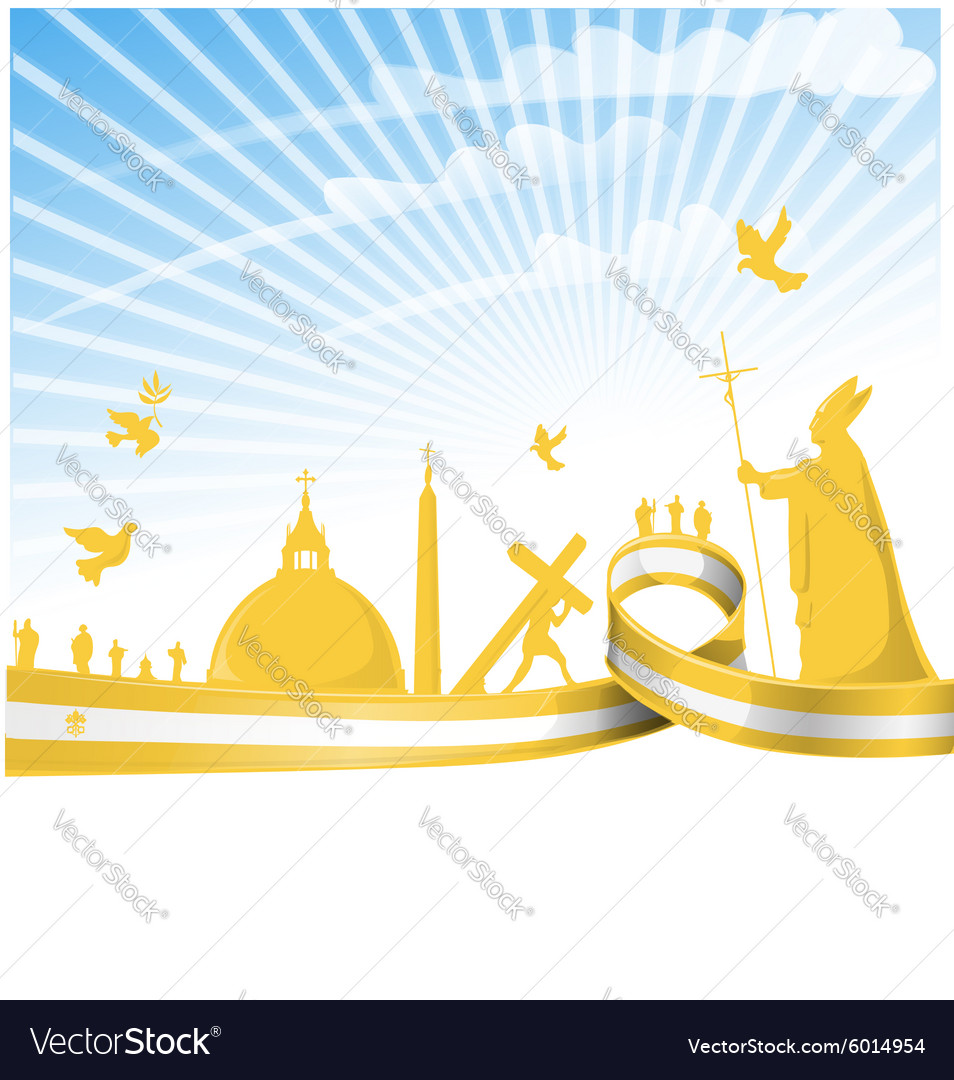 Vatican city flag on background vector image