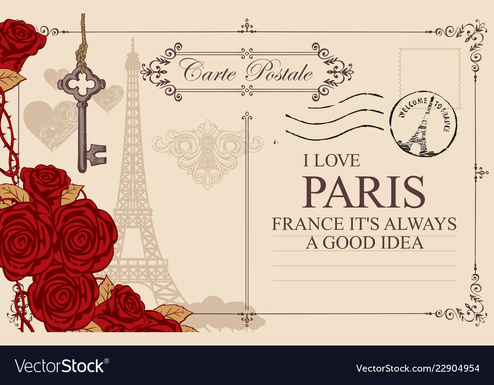 Vintage postcard with the eiffel tower and roses