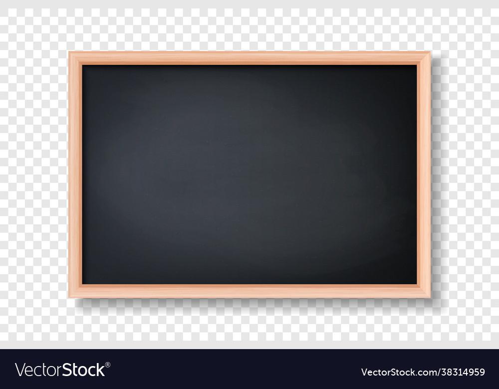 3d realistic blank black chalkboard wooden