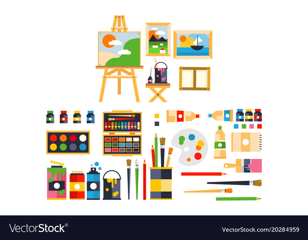 Artist painting tools and artistic materials for