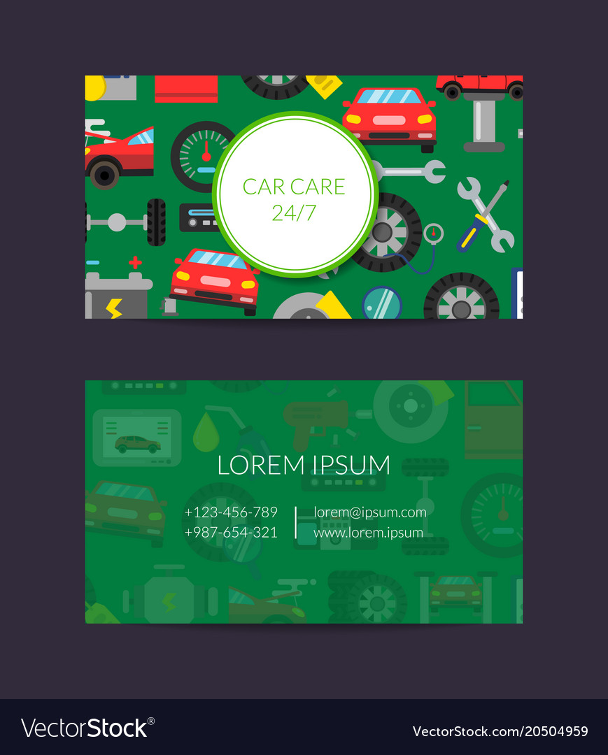 Business card template for auto parts store vector image reheart Gallery