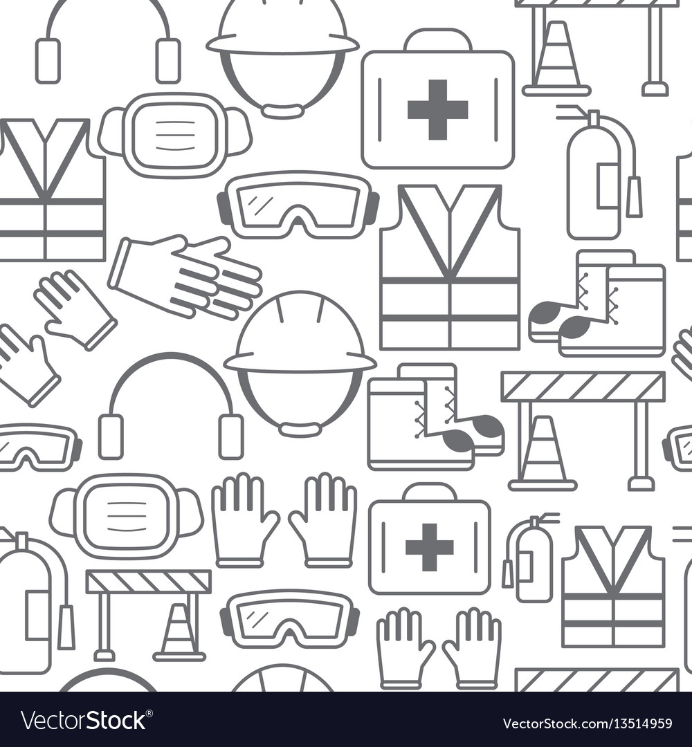 Different line style icons seamless pattern safety