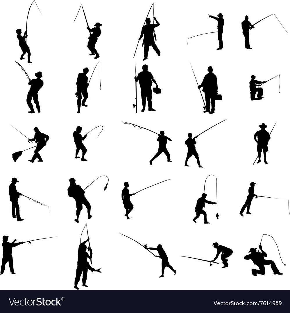 Fisherman silhouette set vector image