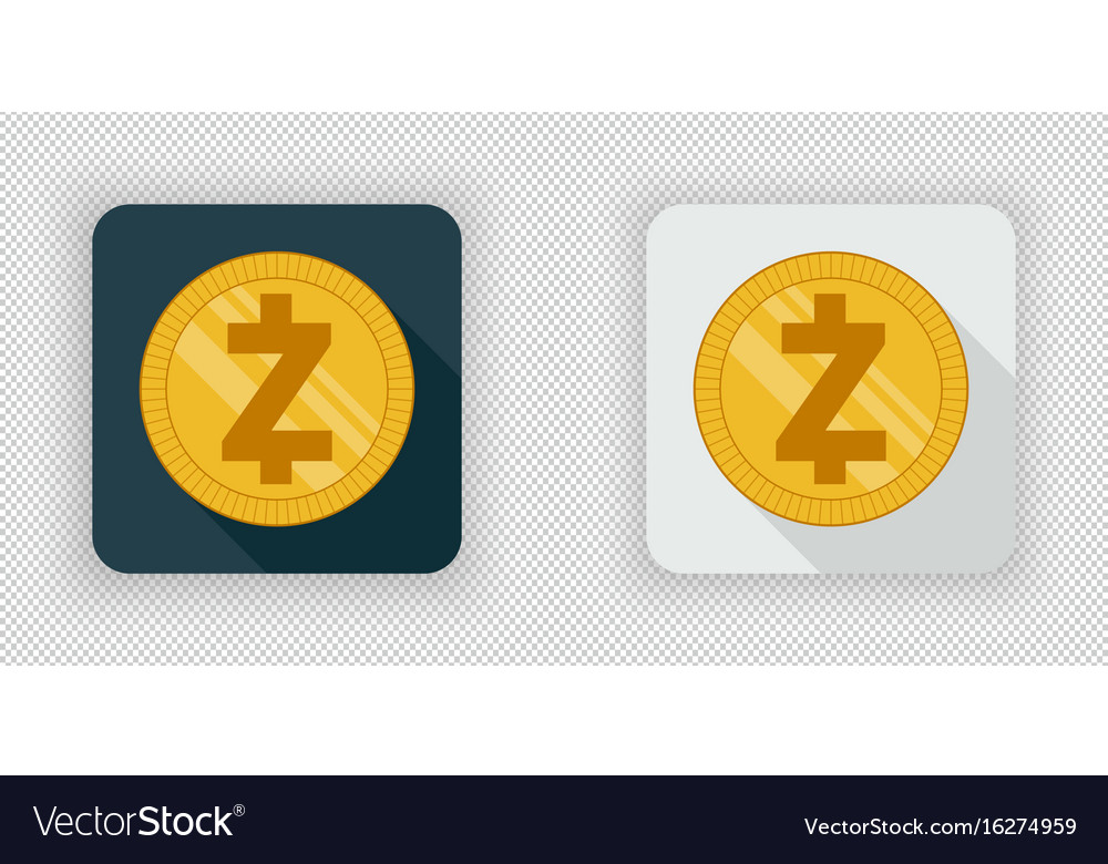Light and dark zcash crypto currency icon vector image