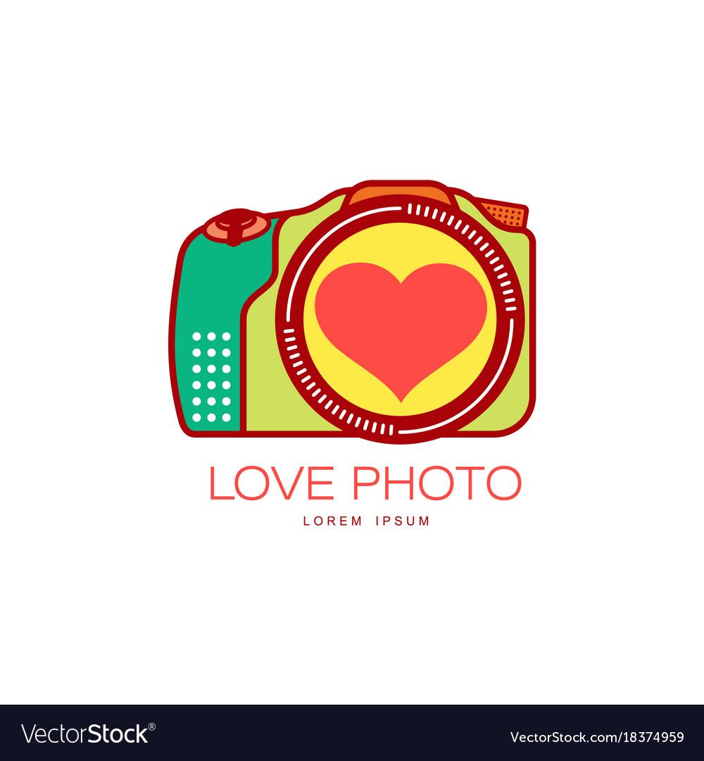 Love photo camera icon isolated