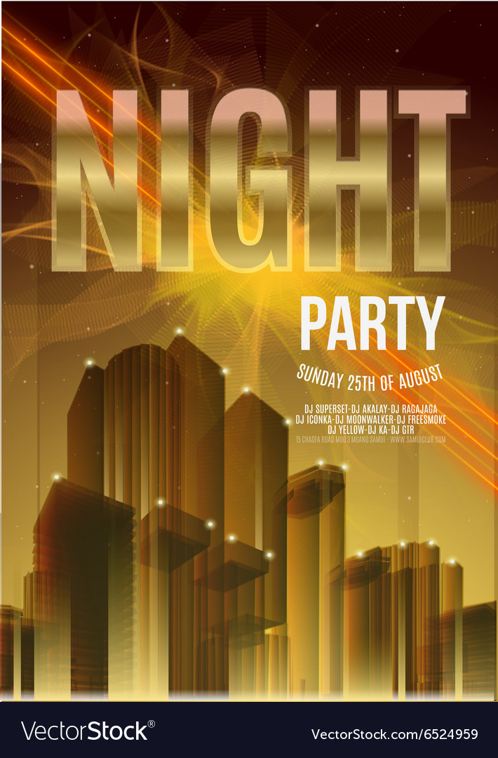 night party gold flyer template eps10 royalty free vector