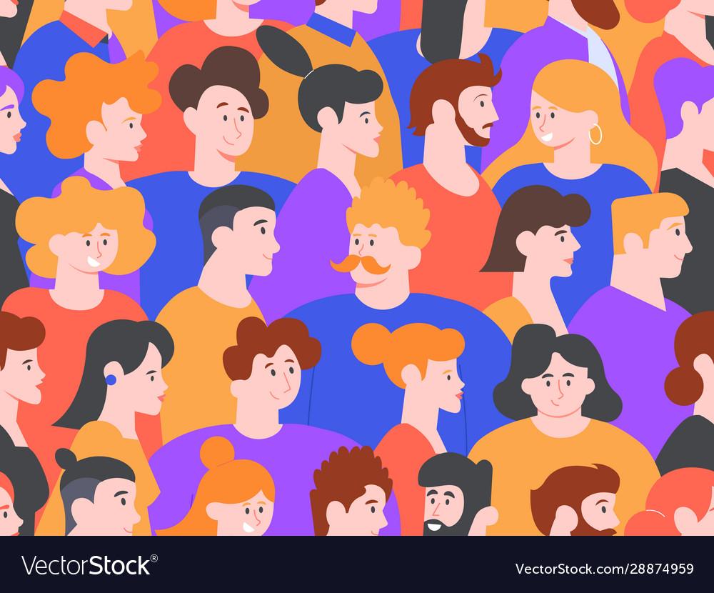 People portraits seamless pattern men and women