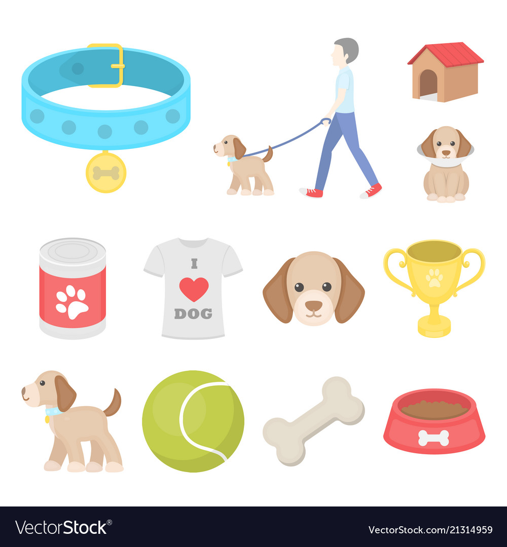 Pet dog cartoon icons in set collection for design