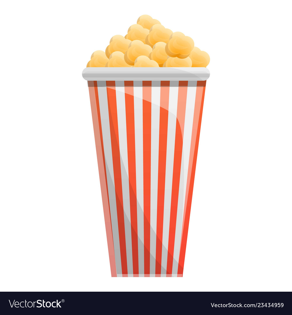 Popcorn paper glass icon cartoon style