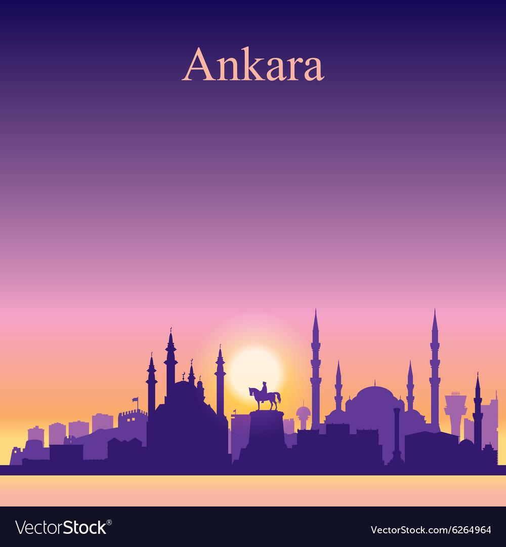 Ankara silhouette on sunset background vector image