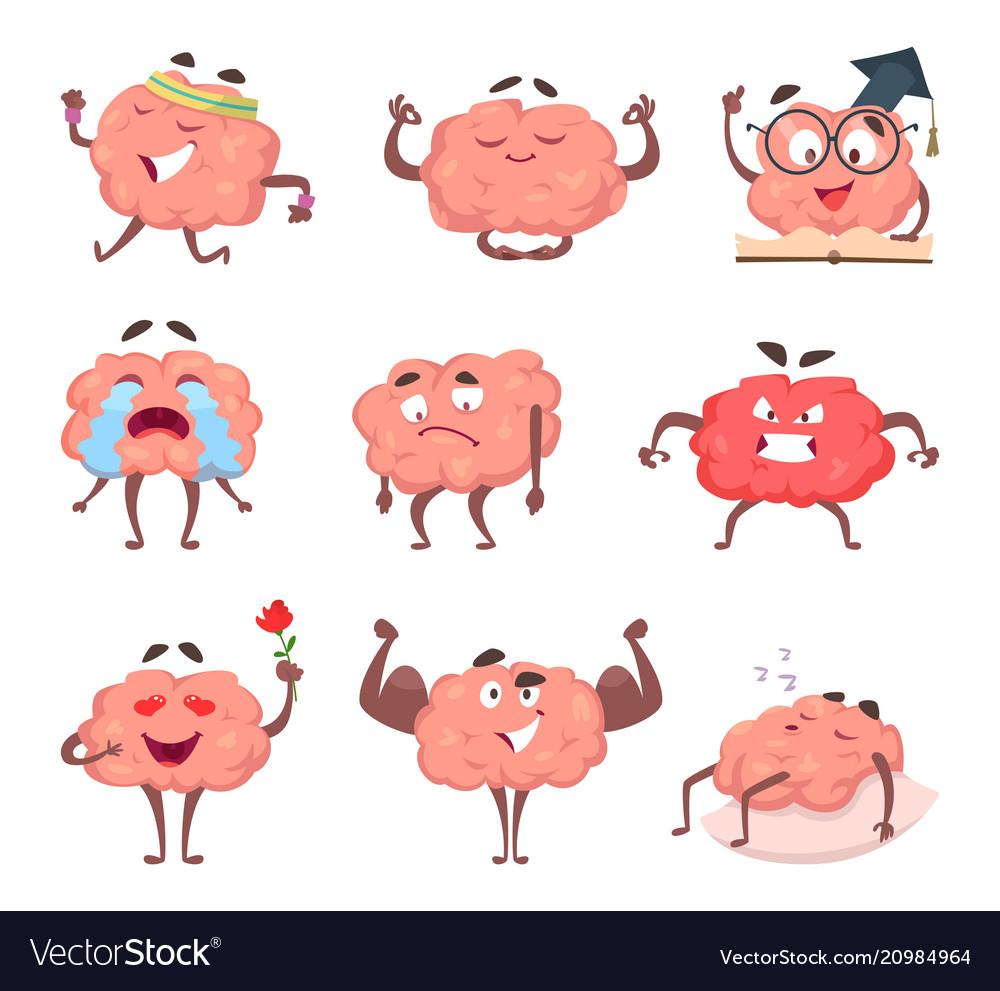 Brain cartoon mascot in various poses vector image
