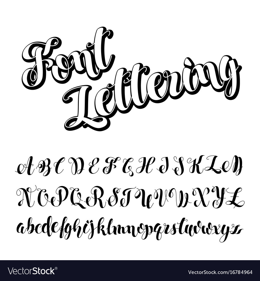 Brush script calligraphy symbols