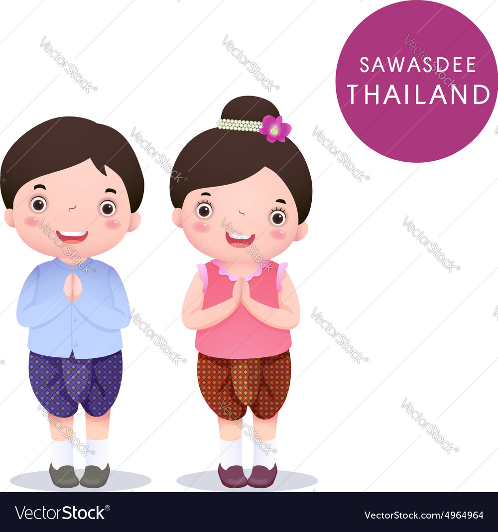Cartoon Thai kids in traditional costume and vector image