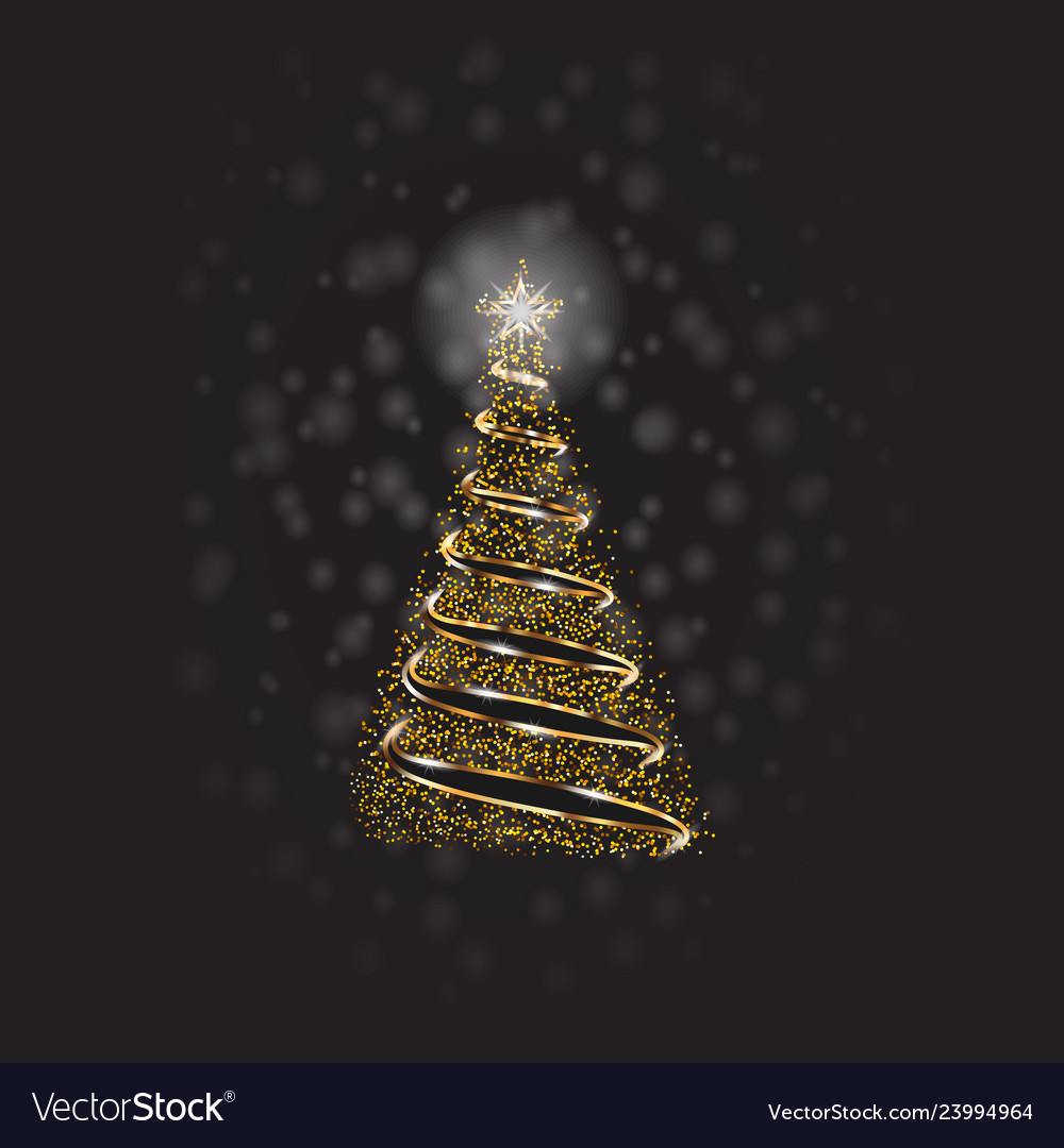 Christmas tree with golden dots and snow on