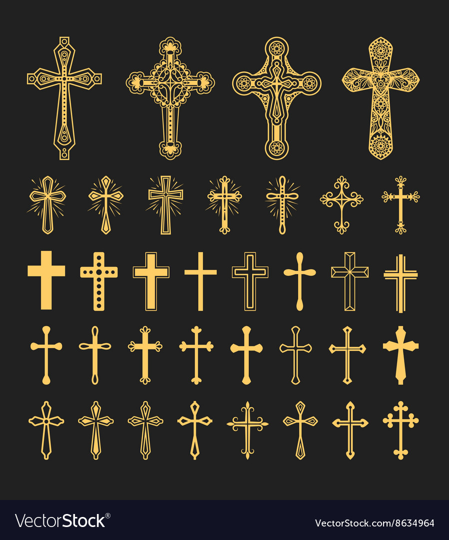 Cross icons set