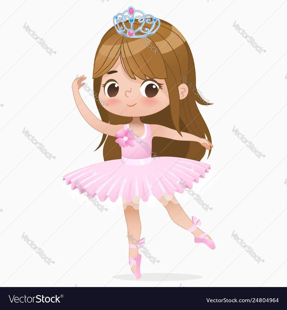 Cute small brown hair girl ballerina dance