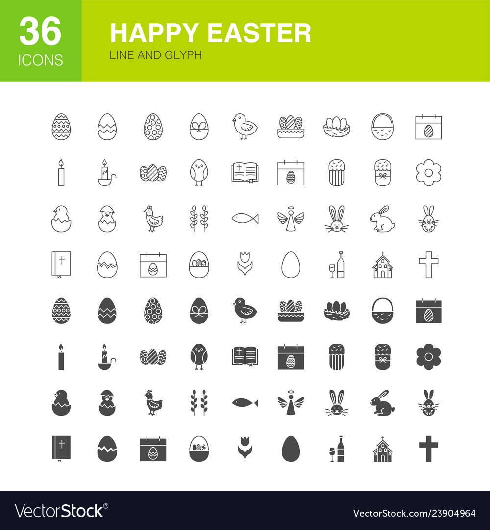 Easter line web glyph icons