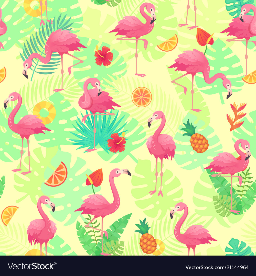 Exotic pink flamingos tropical plants and jungle