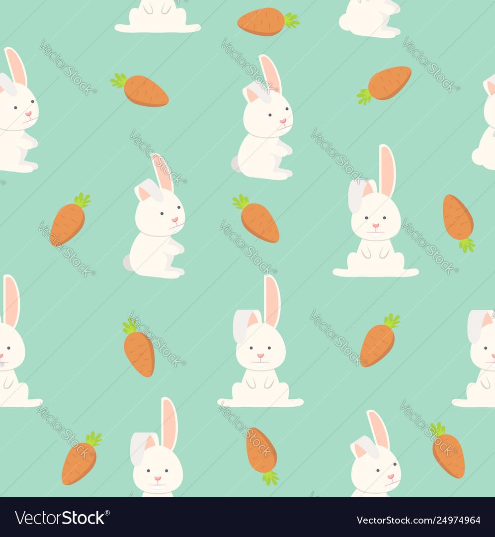 Flat funny bunny seamless pattern