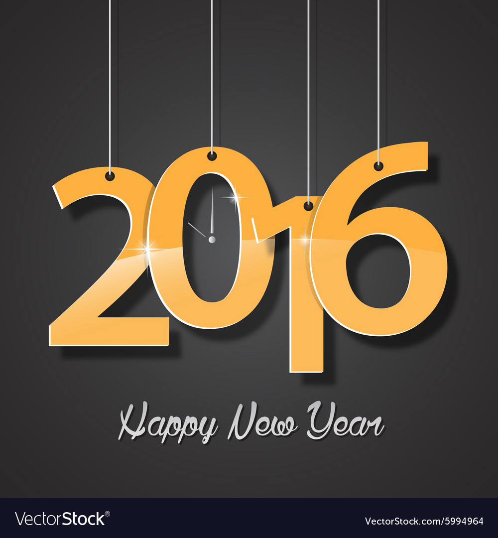 Happy new year golden 2016 creative greeting card
