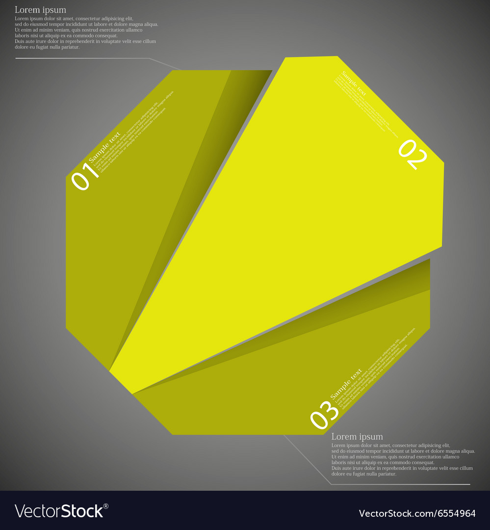 Infographic template with yellow octagon randomly